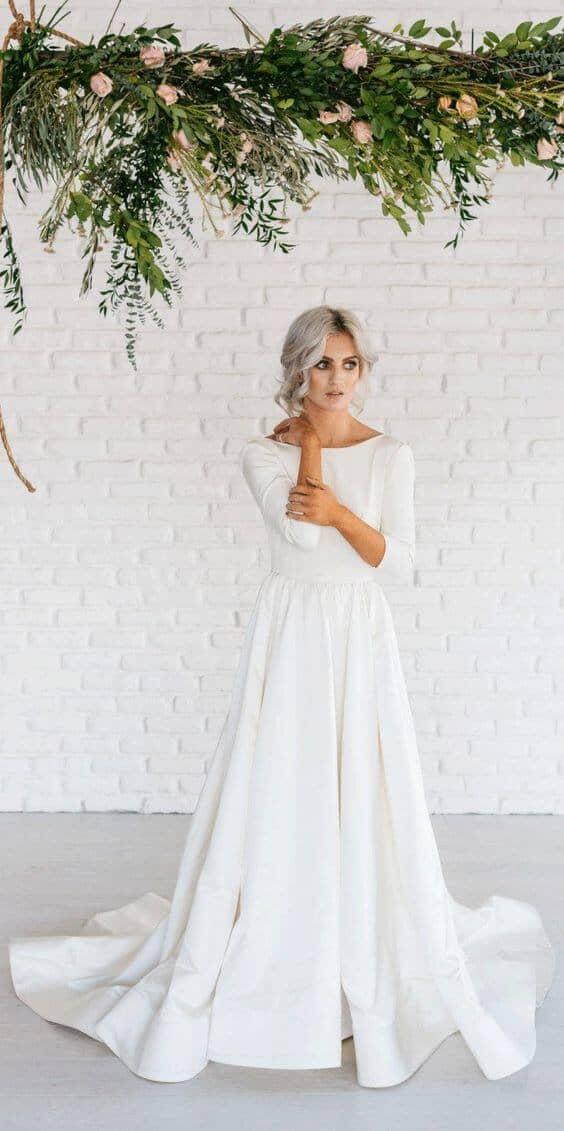 Long-Sleeved Simply Cut Dress