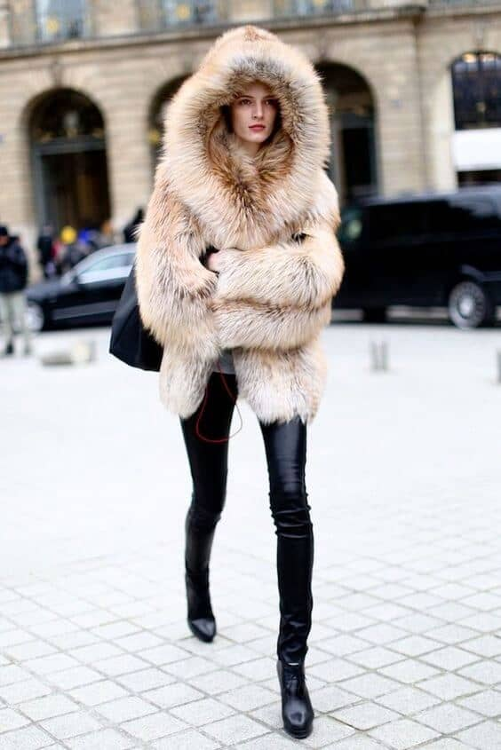 Hooded Natural Tan Fur Coat