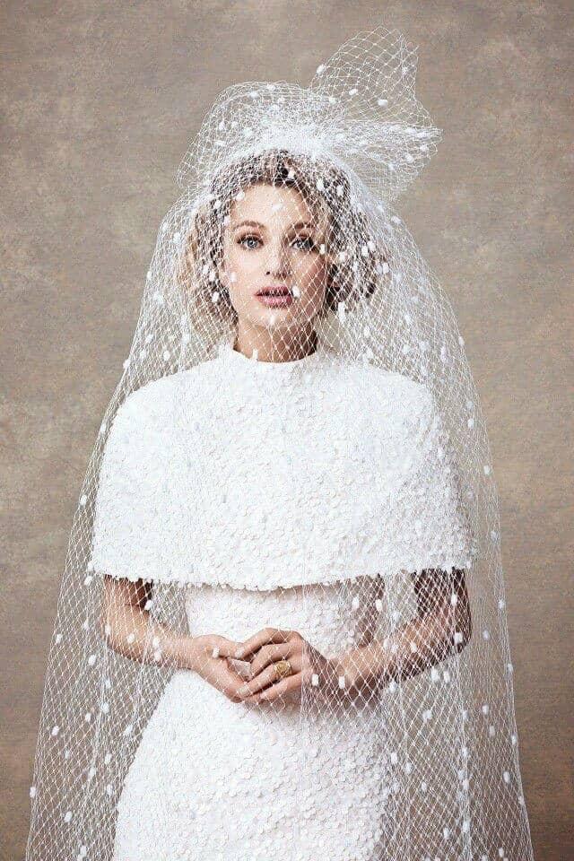 Textured Dress with Veil