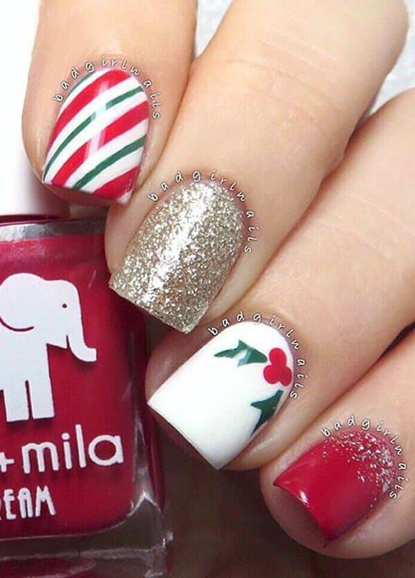 Holly Red, White, And White Gold Glitter
