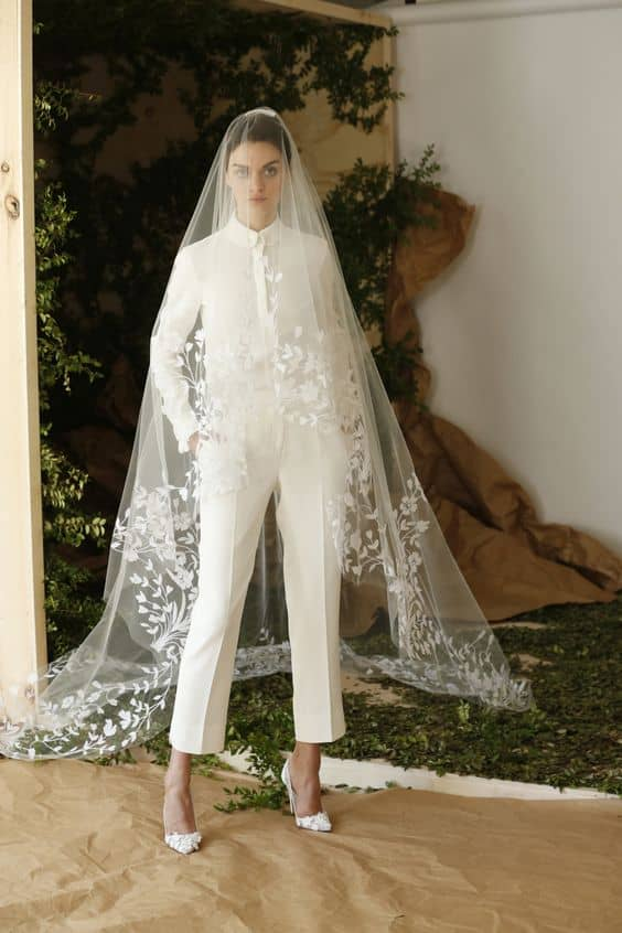 Fitted Pantsuit and Veil