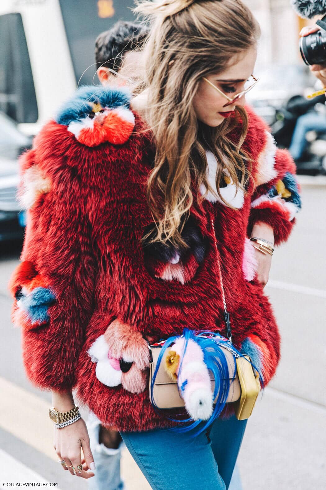 Scarlet Faux Fur With Colorful Floral Embellishments