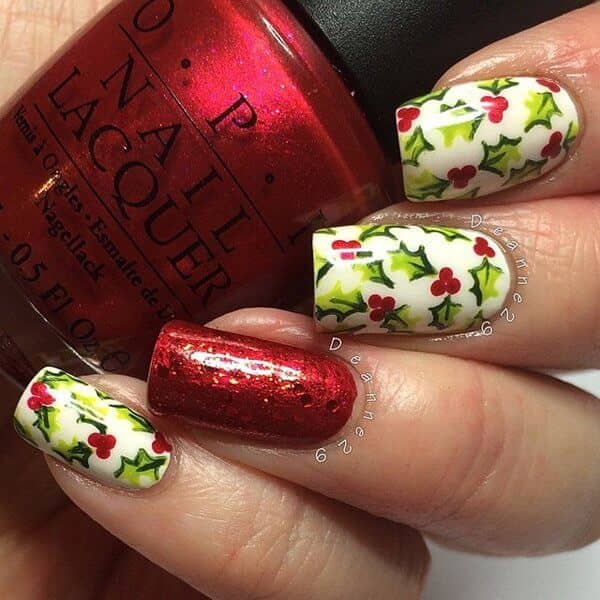 Glittery Red With Holly Nail Art
