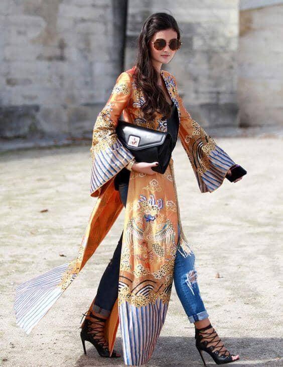 Moroccan Print Caftan Kimono Outfit
