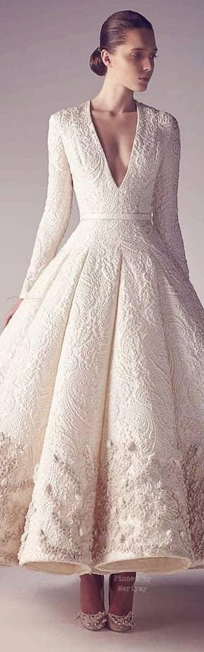 Quilted V-Neck Wedding Dress