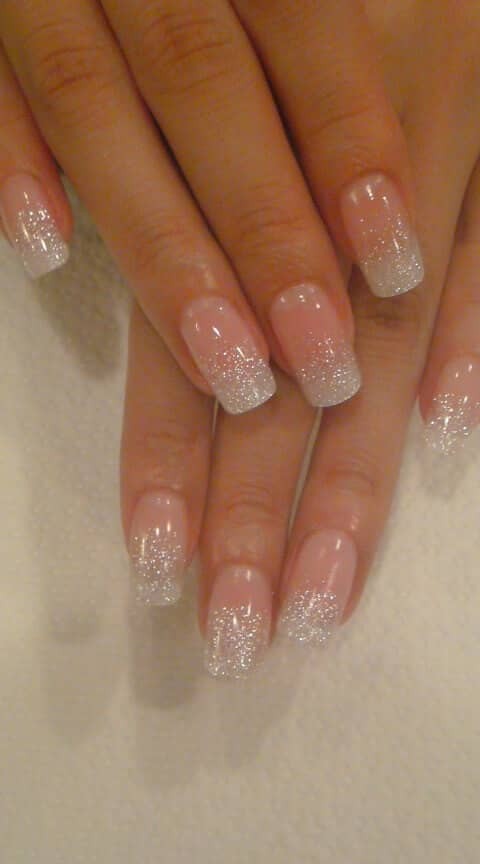 French Manicure With White Glitter Ombre Tips