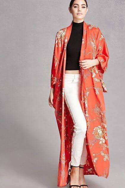 Traditional Floral Kimono Duster