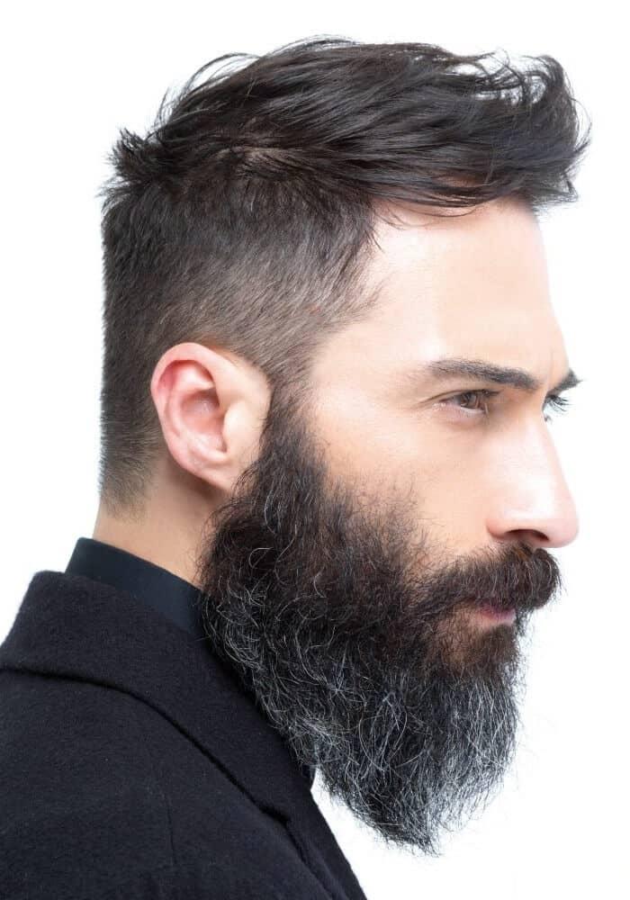 Tight Sides And Sideswept Top, Medium-long Beard