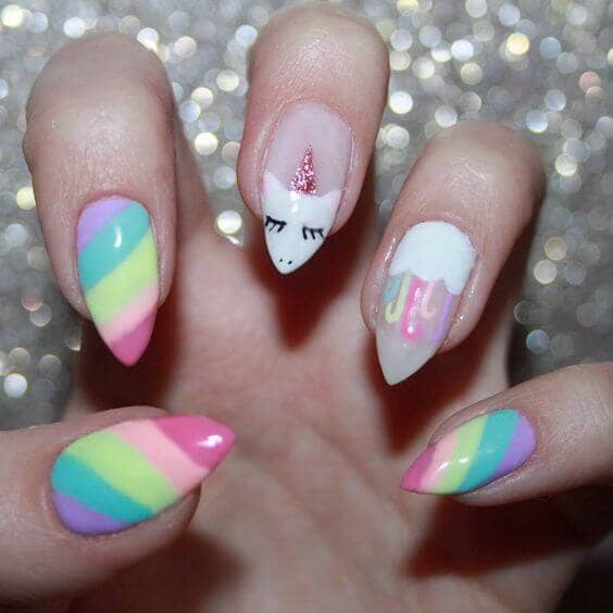 Bright Pastel Rainbow With Unicorn Accent