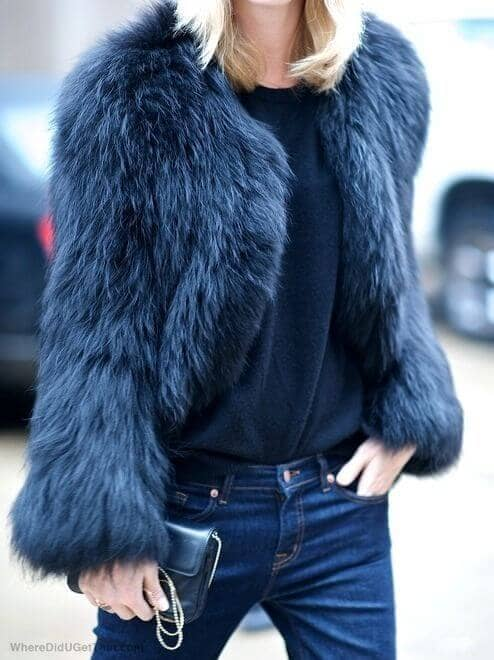 Dusty Blue Cropped Fur Coat