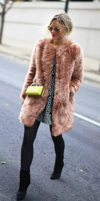 Muted Coral Faux Fur Coat