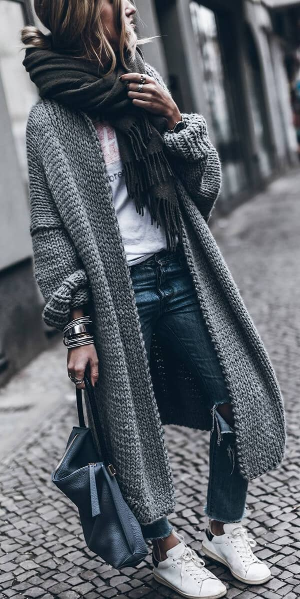 Oversized Grey Cardigans Are Staples