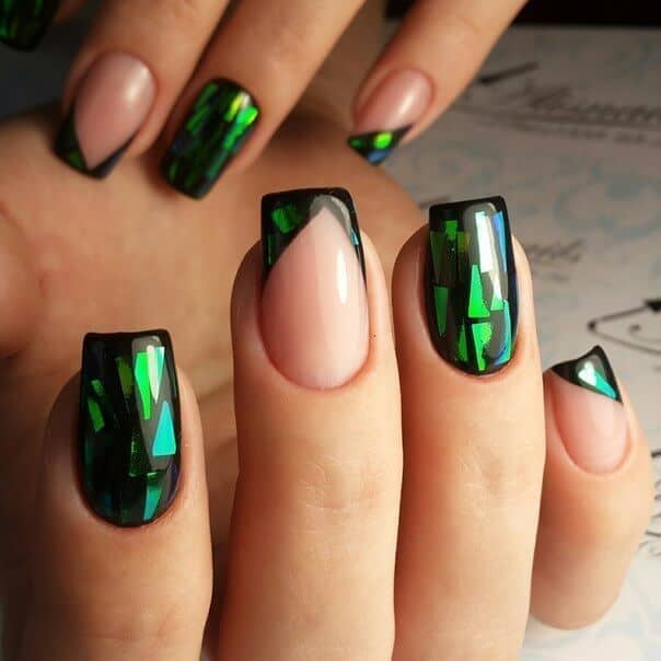 Nude Nails With Prismatic Green Accents