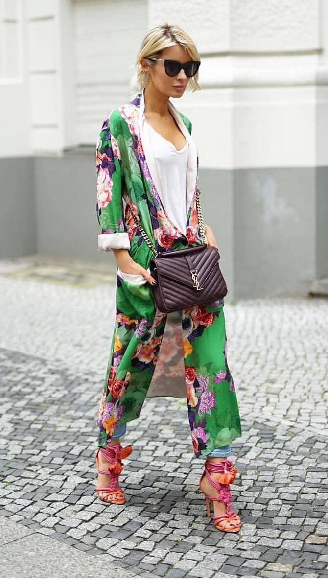 Vibrant Floral Ankle Length Kimono