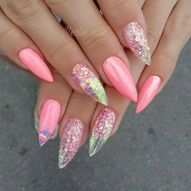 25 Holographic Glitter Nails With Pink Accents