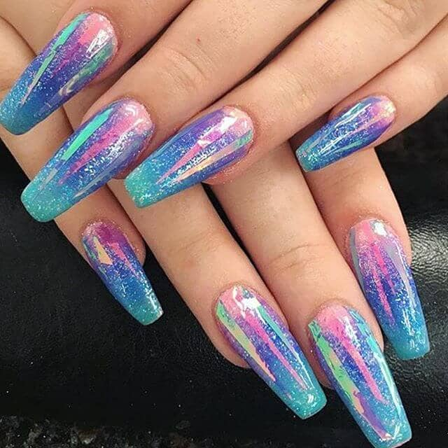 Holographic Nails with Mylar Strips