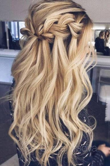 Loose, Beachy Waterfall Braid