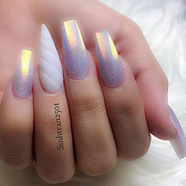30) Holographic Lavender Nails with a Magical Horn - 50 Magical Unicorn Nail Designs You Will Go Crazy For