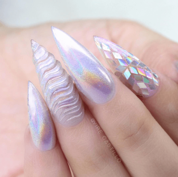 Exciting Unicorn Horn Nails with Shining Accents