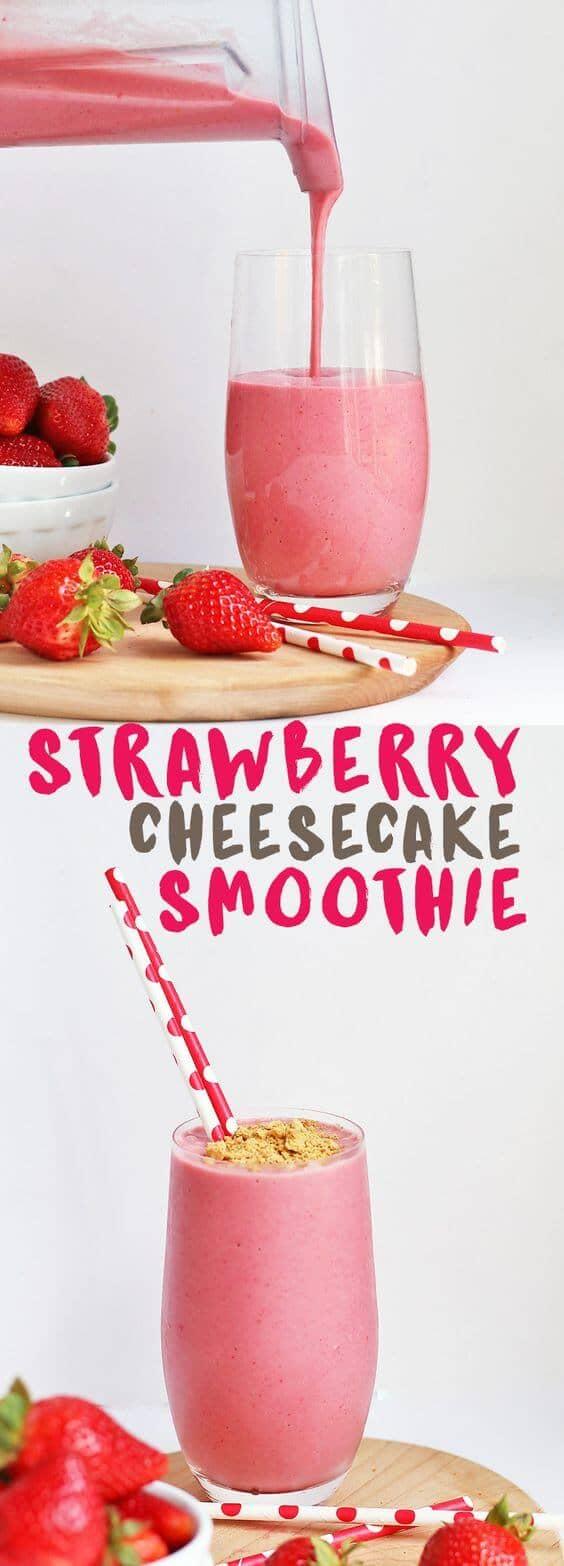 Vegan Strawberry Banana Cheesecake Smoothie