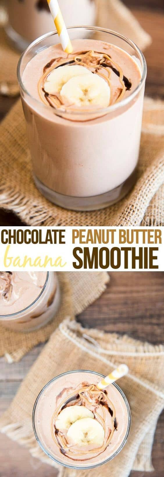 Breakfast Peanut Butter Chocolate Banana Smoothie