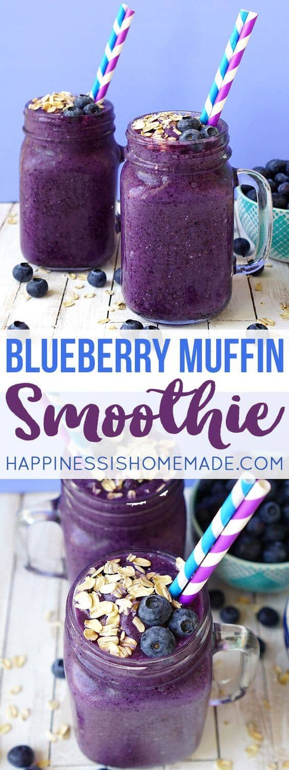 Delicious Old-Fashioned Oats and Blueberry Smoothie