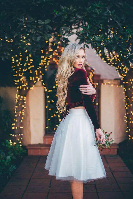White Circle Skirt With Wrap Velvet Top