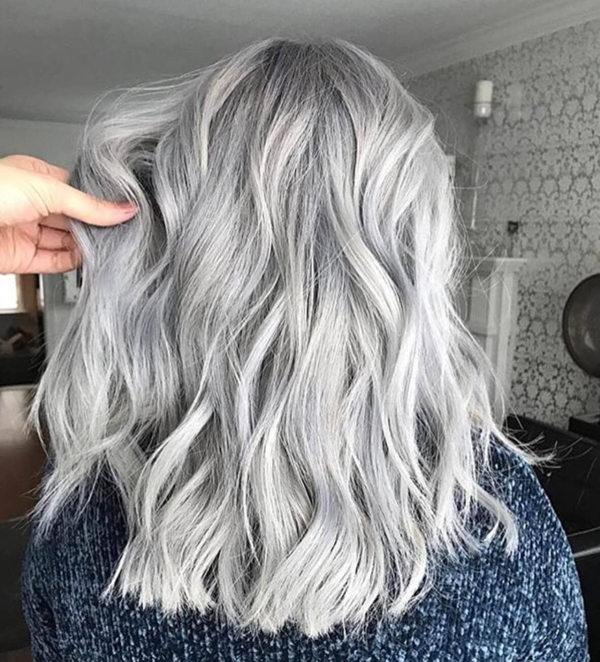 Allover Silver Hair Color With Highlights And Lowlights