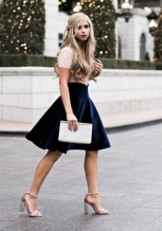 Blush Tee, Velvet Circle Skirt, Neutral Sandals