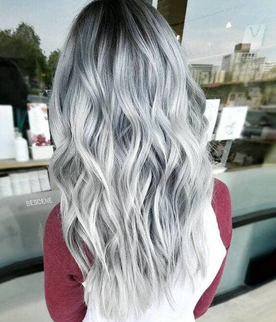 Balayage Light Silver Hair Color