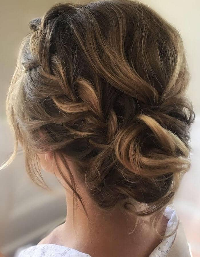 Side Braid With Low Deconstructed Chignon