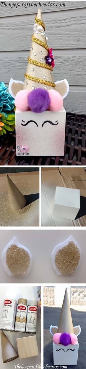 Giggly Gold Unicorn Box