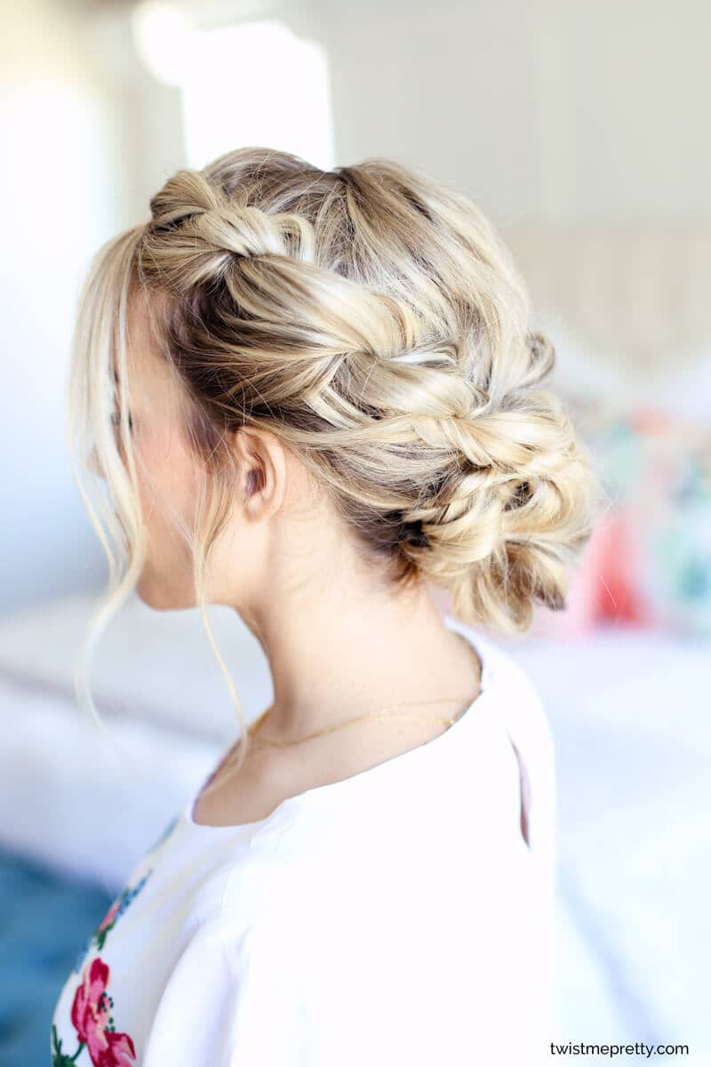 Tousled Side Twists With Low Chignon