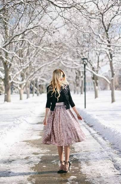 Pink Sequined Midi-skirt With Twinset And Black Pumps