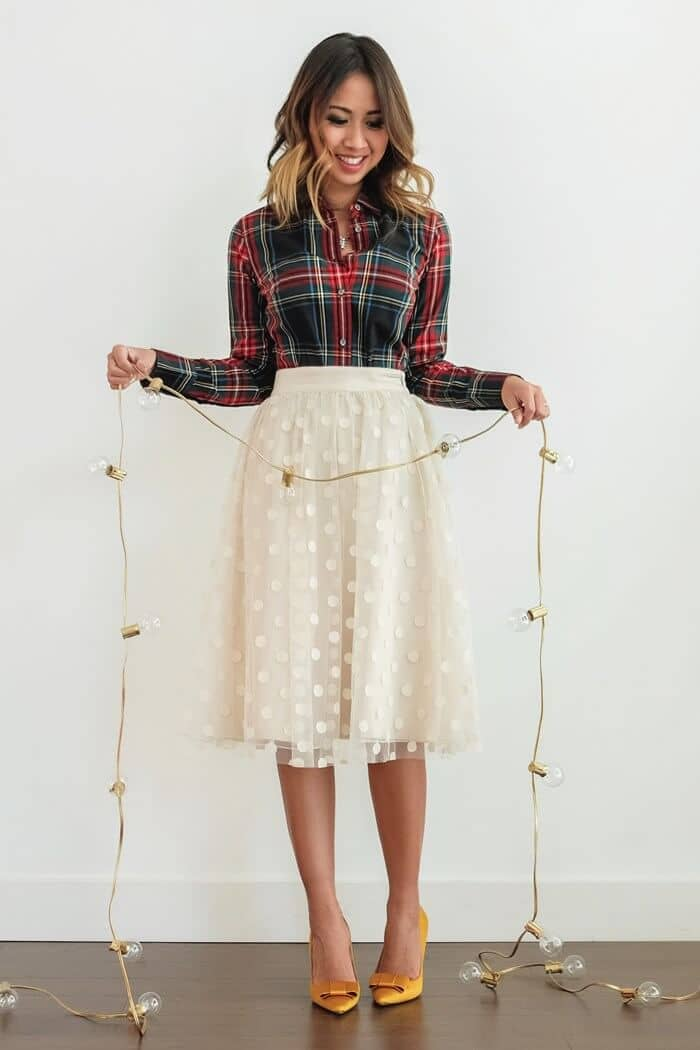 Creme Full Skirt, Fitted Flannel Shirt, And Satin Pumps