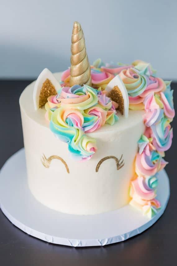 Golden Unicorn Rainbow Cake