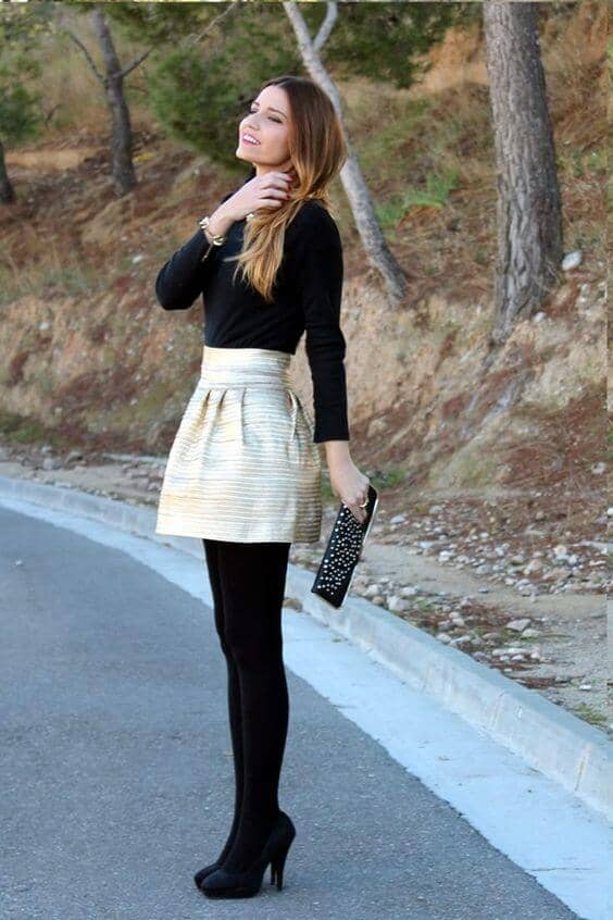 Black Tights And Tee, Full, Structured Miniskirt
