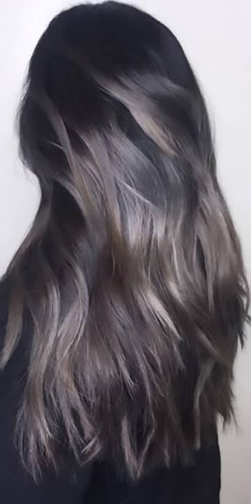 Brunette With Silver Highlights