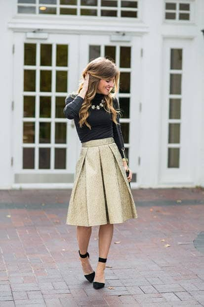 Gold Box Pleated Skirt, Black Turtleneck And Pumps