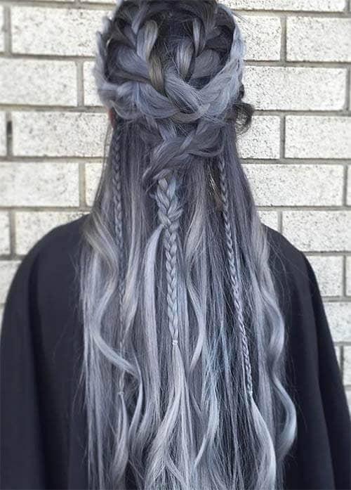Silver Braided Half-updo