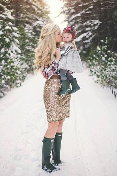 Gold Sequined Skirt, Flannel Shirt, And Wellies
