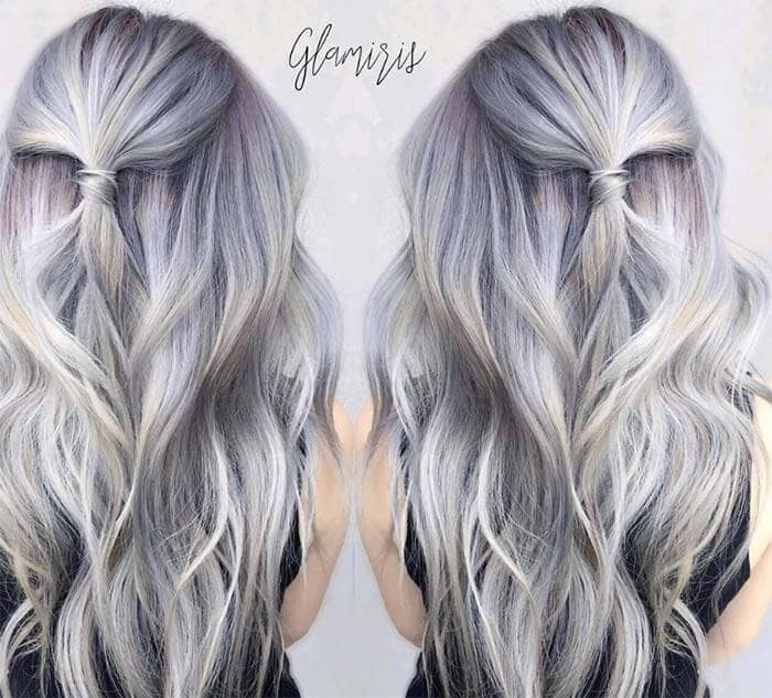 Silver Allover Highlights With Red Roots