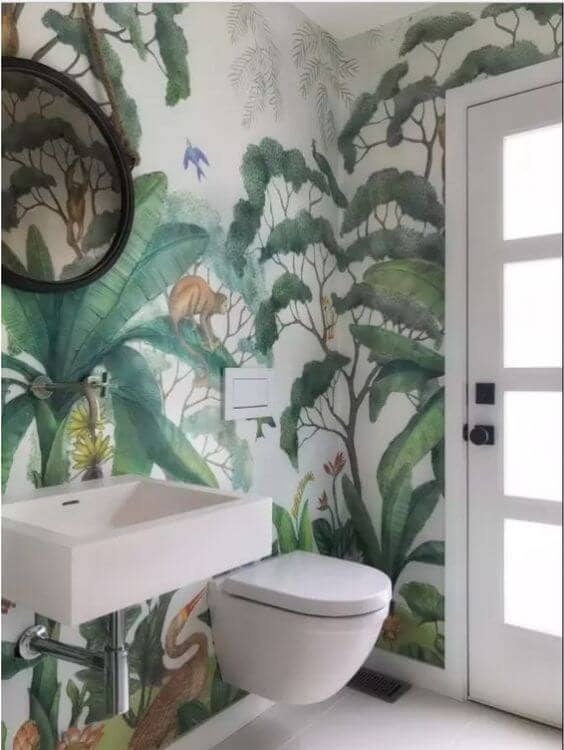 Whimsical Watercolor Jungle Mural