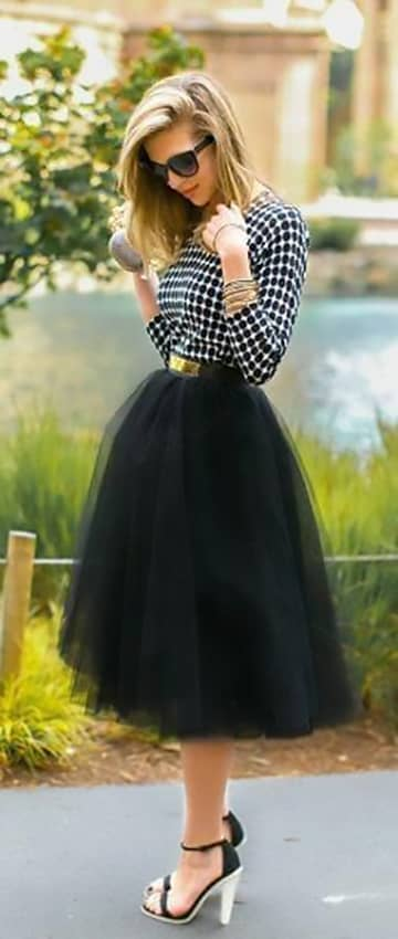 Black Ballet Skirt With Geometric Bw Long-sleeved Top