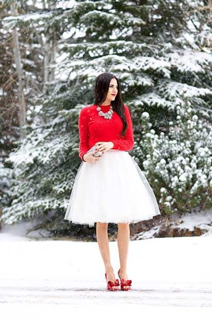 White Ballet Skirt, Red Sweater, And Red Satin Heels