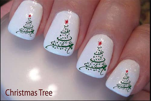 Delicate Christmas Trees on White