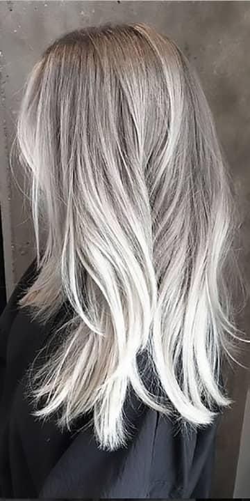 Platinum Blonde To Silver Balayage