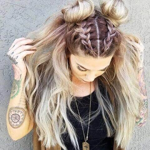 Beachy Waves With Double Braids/buns