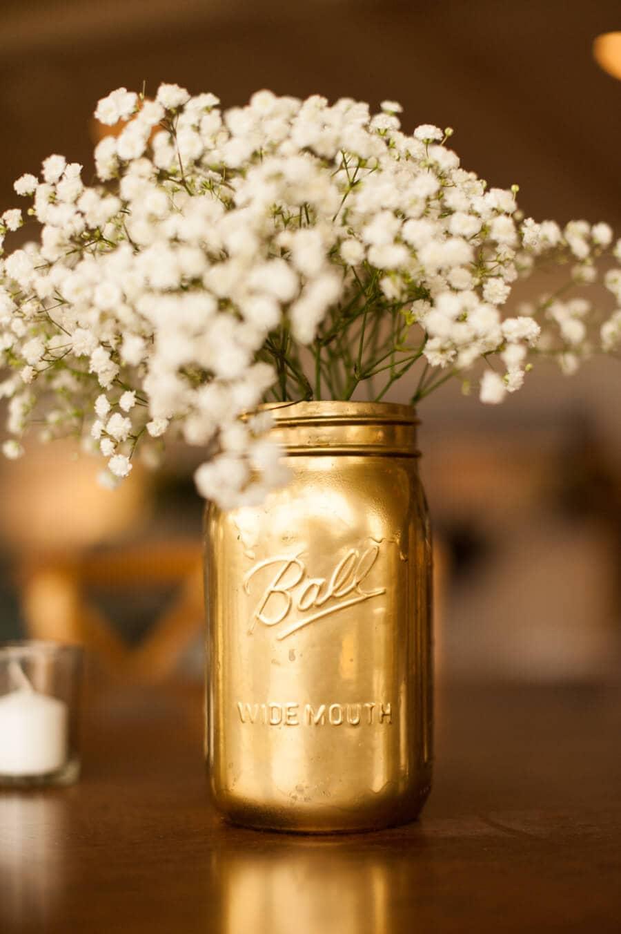 Gilded Canning Jar Floral Arrangements
