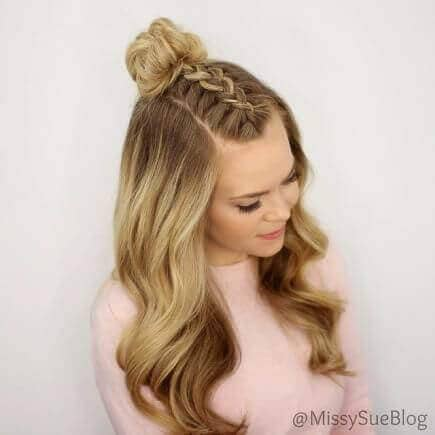 Half-up French Braid And Top Knot